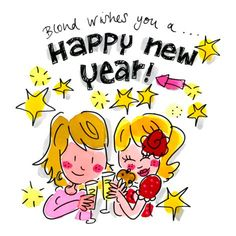 Happy new year ! - by Blond Amsterdam Amsterdam New Year, Amsterdam Holidays, Blond Amsterdam, Funny Cartoons, Happy Girls, Merry Xmas, Pin Up Girls, Rainbow Colors, Words Quotes