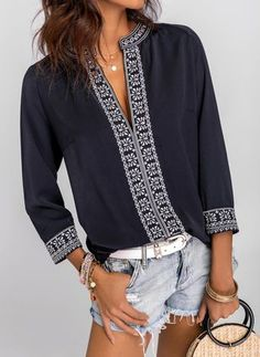 Buy Tops, Online Shop, Women's Fashion Tops for Sale - Floryday Ethnic Fashion, Boho Fashion, Fashion Dresses, Fashion Blouses, Spring Fashion, Fashion Jewelry, Fashion Trends, Blouse Styles, Blouse Designs