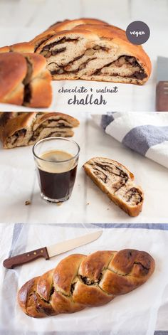 What about a challah oozing a delicious da… Any lovers out there? What about a challah oozing a delicious dark chocolate and walnut filling? The only issue is that it's so good you won't be able to stop at one slice… Vegan Dessert Recipes, Vegan Sweets, Baking Recipes, Raw Recipes, Drink Recipes, Vegan Bread, Vegan Challah Bread Recipe, Vegan Butter, Plaited Bread Recipe