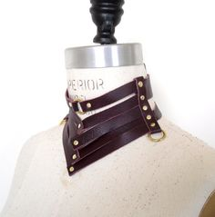 Victoria Leather Gorget Style Collar Burgundy by LoveLornLingerie