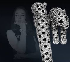"""CARTIER to Maria Felix }  Known as """"the Mexican Panther"""", in 1967 the actress commissioned a two-headed panther bracelet with articulated head and paws:"""