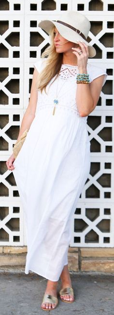 White Eyelet Maxi Dress Summer Style by Elle Apparel