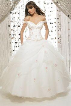 White and Gold Wedding. Sweetheart Corset Ballgown Dress. Fantasy Wedding Dress