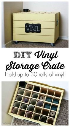 I was so happy to finally clean up this little corner of my craft room and have all of my heat transfer vinyl easily accessible and know what I have and what I don't. It saves me from buying stuff that I didn't actually need and everything stays neat and tidy. Check out this DIY Viny Storage Crate tutorial from Addicted 2 DIY blog. #crafter #craftsupplies #craftroom #craftroomstorage #craftsupplystorage