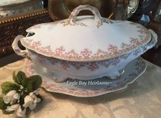 Wm Guerin Co LimogesLarge 3 Piece Porcelain TUREEN Pink