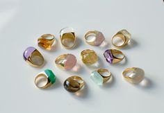 RockRings. I would have worn all of these at once as a little girl !  I have loved round rocks forever