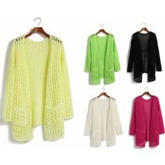New arrival Large mesh hollow long sweater cardigan sweater