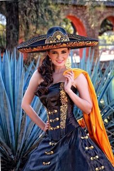 "Beautiful mexican ""Charra"" with a Charro-style Sombrero!, #LoveMexico http://gotomexico.co.uk/mexican-folklore/"