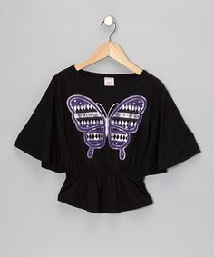 Loving this S.W.A.K. Black Butterfly Cape-Sleeve Top - Girls on #zulily! #zulilyfinds