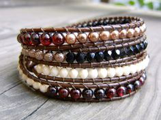Beaded Leather 4 Wrap Bracelet for Fall