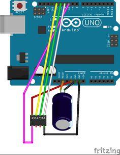 Programmieren eines ATtiny85 mit dem Arduino Uno als Programmer-Hardware