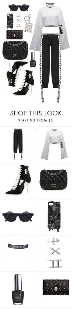 """""""Untitled #119"""" by manerefortis ❤ liked on Polyvore featuring Puma, Chanel, Kuboraum, Marc by Marc Jacobs, GUESS, OPI, Alexander McQueen and Givenchy"""