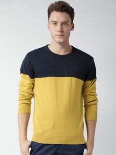 Buy Mast & Harbour Navy & Mustard Cotton Colourblocked Sweater online in India at best price.avy blue and mustard yellow colourblocked sweater, has a round neck, long sleeves, ribbed hem Best Smart Casual Outfits, Men Fashion, Winter Fashion, 2 Princes, Winter Wear, Winter Collection, Stay Warm, Mustard, Men Sweater