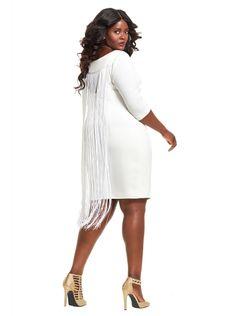 Plus size white fringe dress
