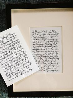 Framing your vows - two identical frames and hang them above our bed