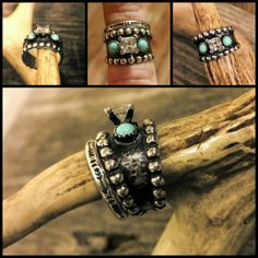 Custom Western Engagement Ring Wedding Band With Arrows Turquoise Solid 925 Sterling