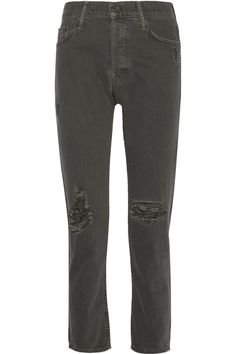MOTHER The Cheeky Distressed High-Rise Straight-Leg Jeans. #mother #cloth #jeans