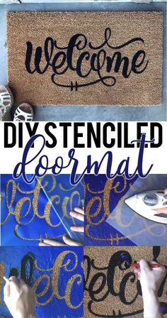 How to Stencil a Door Mat 2019 Learn how to stencil your own doormat plus get a free Welcome SVG file. Works with Silhouette Cricut and other electronic cutters. The post How to Stencil a Door Mat 2019 appeared first on Paper ideas. Diy Craft Projects, Diy Crafts For Kids, Crafts To Sell, Creative Crafts, Wood Projects, Preschool Crafts, Woodworking Projects, Teen Crafts, Classroom Crafts