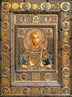 Jeweled gold and enamel bas relief icon of Archangel Michael, from the Cathedral of San Marcos, Venice