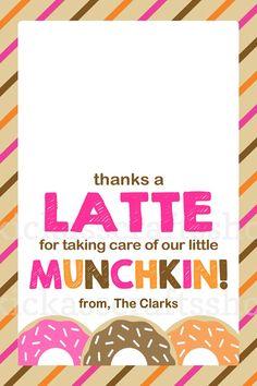 Printable Dunkin Donuts-Inspired Thanks a Latte Teacher Gift