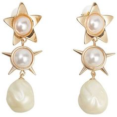 MANGO Double Pearl Earrings ($20) ❤ liked on Polyvore featuring jewelry, earrings, earring cuff jewelry, pearl earrings jewellery, cuff jewelry, pearl pendant and mango jewelry