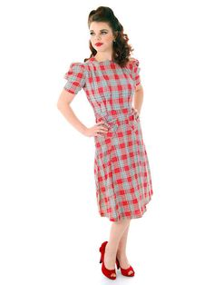 Vintage Red Plaid Dress Cotton Seersucker Deadstock Early 1940s Small