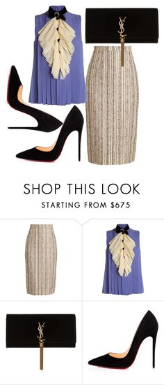 """""""Periwinked"""" by fashionforwarded ❤ liked on Polyvore featuring Roland Mouret, Gucci, Yves Saint Laurent, Christian Louboutin and NYFW"""