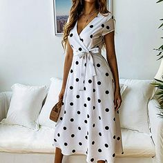 a line dress Casual - 2019 Summer Dress Women Vintage Dress Casual Polka Dot Print A-Line Party Dresses Sexy V-neck Short Sleeve Long Dress Fashios Casual Summer Dresses, Summer Dresses For Women, Spring Dresses, Sexy Dresses, Vintage Dresses, Dress Casual, Elegant Dresses, Dress Summer, Formal Dresses