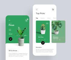 Plant Shop swipe cards shop plants plant green app flat bright ux white ui Source by juliuskoroll - Mobile Ui Design, App Ui Design, User Interface Design, Flat Design, Design Design, Site Design, Interaction Design, Mobile App, Design Responsive