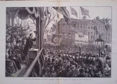 1893 PRINT THE ULSTER DEMONSTRATION AT BELFAST : BURNING THE HOME RULE BILL