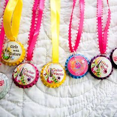 For the girls ~ hand painted bottle cap necklaces