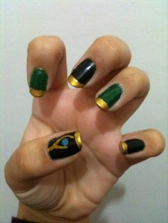 Loki nail art!! How cool is this?! ---Only if I could keep my hands still long enough ha