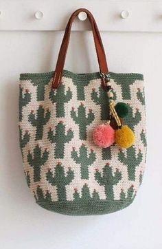 Crochet Cactus, Crochet Tote, Crochet Purses, Knit Crochet, Knitting Club, Crochet Instructions, Tapestry Crochet, Knitted Bags, Knit Patterns