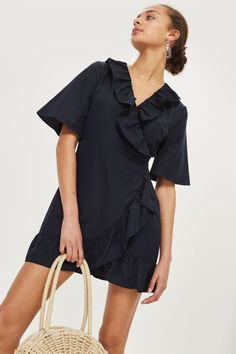 07a585aecfb4 Poplin Ruffle Mini Wrap Dress