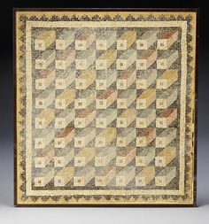 A Roman geometric mosaic panel  Circa 3rd-4th Century A.D. Composed of yellow, red, pink, black, grey and white tesserae, the square panel with zig-zag decorated borders framing a repeat pattern of three dimensional cubes, 42½in x 39¼in (108cm x 100cm)
