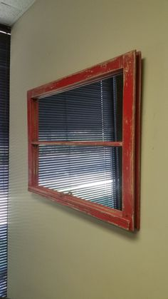 Red Distressed Window Mirror Rustic Window by TheDecorativeCompany
