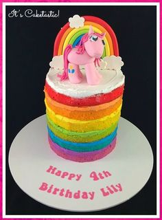 """- """"Naked"""" rainbow cakes have become one of my most popular cakes. Rather than covering the whole cake with icing to hide the surprise of the colours I make a feature of the rainbow shades by using matching icing. This cake was made with butter cake and Swiss meringue buttercream.  The rainbow and Pinkie Pie were made from fondant."""