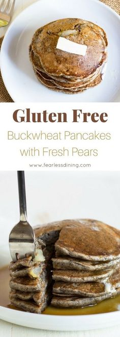 Easy gluten free buckwheat pancakes full of fresh pears! You will love this healthy buckwheat pancake recipe. Kid approved breakfast! Recipe www.fearlessdining.com #buckwheat #buckwheatpancakes #pearpancakes via @fearlessdining