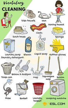 Cleaning Supplies: List of House Cleaning & Laundry Vocabulary Household Cleaning and Laundry Vocabulary in English English Verbs, Learn English Grammar, English Vocabulary Words, Learn English Words, English Phrases, English Language Learning, English Study, Teaching English, English House