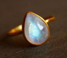 White Moonstone Ring - Teardrop - Vermeil Gold, Stacking Ring, June Birthstone, June Birthdays