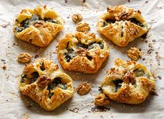 These little Hot Cropwell Bishop Stilton and Spinach Puffs are bound to be popular at parties, they look wonderful and taste divine. They're really simple to make, too. You can freeze them then pop in the oven just as guests arrive. Spinach Puff Pastry, Puff Pastry Recipes, Cheese Recipes, Pie Recipes, Sweet Recipes, Recipies, Irish Recipes, Blue Cheese, Feta