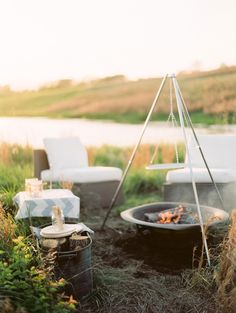 #fire, #camping, #summer, #outdoors  Photography: Clary Photo - claryphoto.com/  Read More: http://www.stylemepretty.com/living/2013/05/28/dinner-at-the-pond-with-clary-photo/