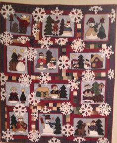 Snowman quilt from a class in 1997! Finally finished 2014