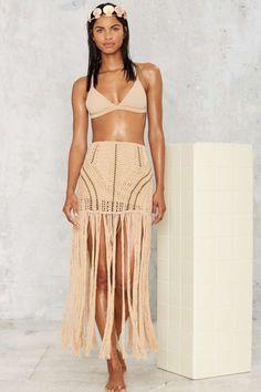 Flook the Label Theia Crochet Fringe Skirt - Clothes   Swim Shop   Cover Ups   Swimwear