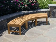 Exterior Creative Curve Garden Bench Plus Flagstone Patio Flooring Design And Bold Colour Flowers Curved Bench Designs as Cozy and Gorgeous Furniture for Your Outdoor Stone Garden Bench, Garden Bench Plans, Outdoor Garden Bench, Wooden Garden Benches, Stone Bench, Outdoor Couch, Garden Seats, Curved Outdoor Benches, Curved Bench