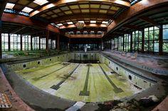 Swimming pool inside the abandoned Grossinger's Catskill Resort