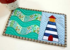 Perfect mug rug for a sailor or a lighthouse keeper.
