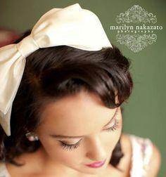 Big bow headband in ivory taffeta headbands for by BeSomethingNew, $40.00