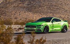 Download wallpapers Ford Mustang, Ferrada wheels, Tuning Mustang, bright green Mustang, 4K, sports car, American cars