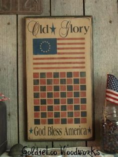 Primitive, Folk Art ,Game Boards, Old Glory Checkerboard. Primitive Signs, Primitive Folk Art, Primitive Crafts, Country Primitive, Wood Crafts, Wood Craft Patterns, Primitive Painting, Old Games, Old Glory